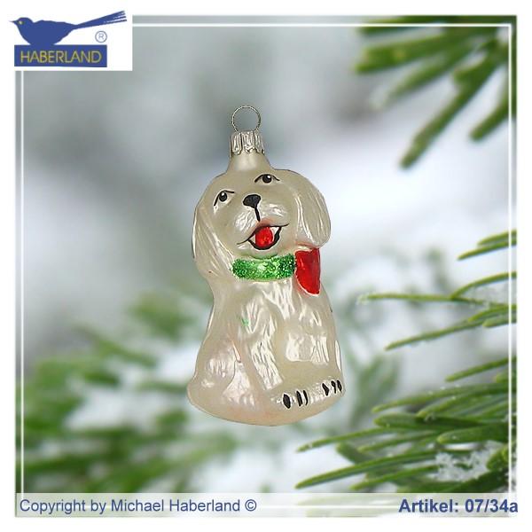 christbaumschmuck glas aus lauscha alles f r das weihnachtsfest kleiner hund wei matt. Black Bedroom Furniture Sets. Home Design Ideas